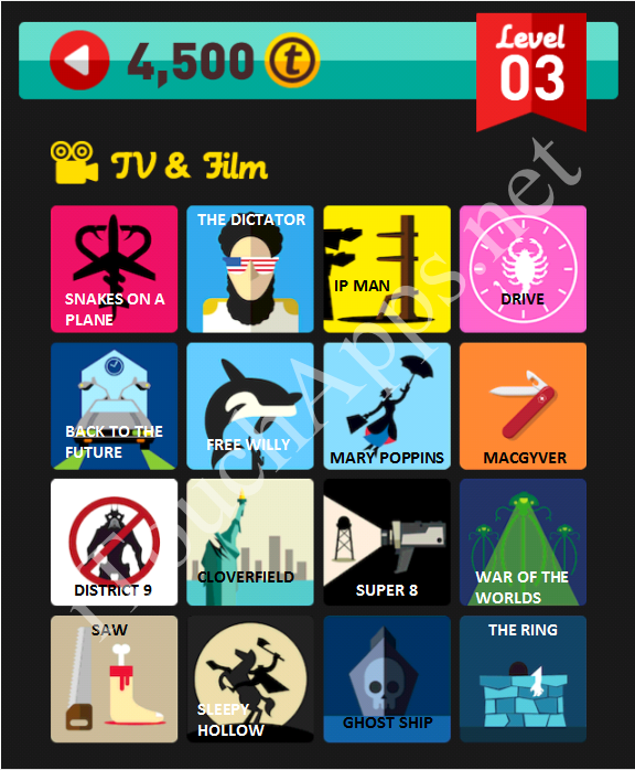 Icon Pop Quiz Game TV & Film Quiz Level 3 Part 3 Answers / Solutions